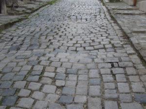 Romantic cobblestone street Budapest